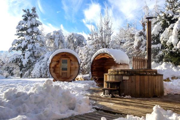 Raquette et bien-être dans le Vercors : bain norvégien et sauna !