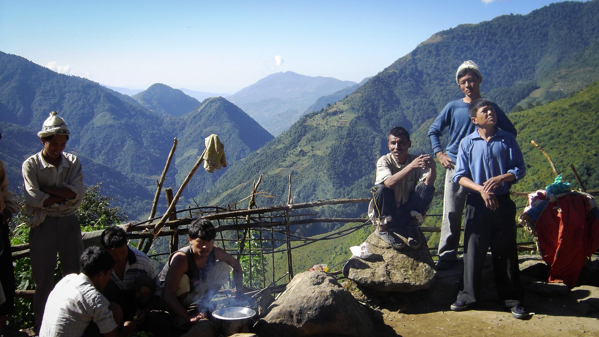 L'équipe des porteurs sur le trekking du Kanchenjunga